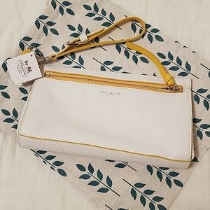 COACH White Leather Wristlet